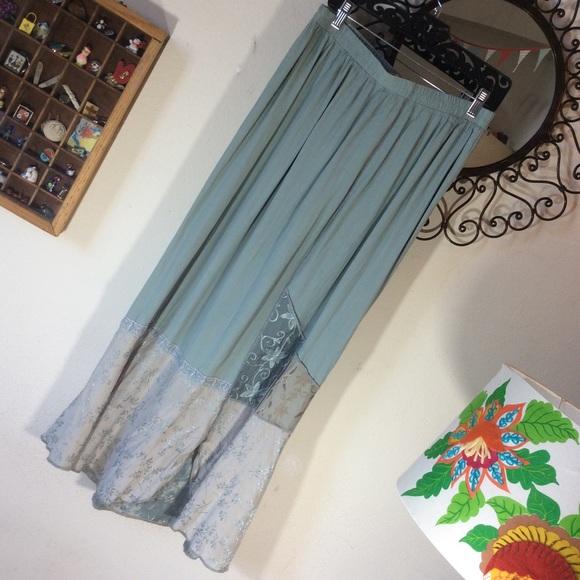 Vintage Dresses & Skirts - Artsy vintage sea foam patchwork maxi skirt